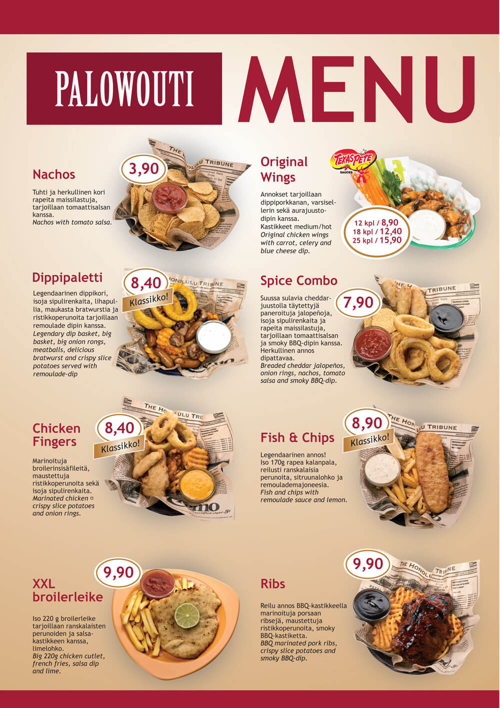 Palowoudin menu